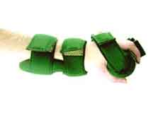 "Side shot of LEEDer GRIPing WHFO Hand Splint displays desired ""C"" position of the hand/fingers."